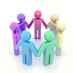 Icon people in various colors holding hands